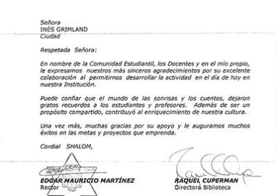 Y un agradecimiento del colegio Colombo Hebreo de Bogotá